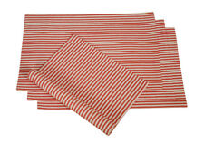 Cotton Placemats Stripes Red & White 4/pack