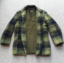 VTG Wool Shadow Plaid Jacket Rick Sher Hunter Green Sherpa Line Woodsman Coat 40