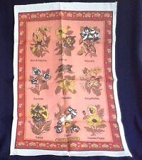 vintage linen blend tea towel FLOWERS PLANTS magnolia orchid hibiscus gardenia +