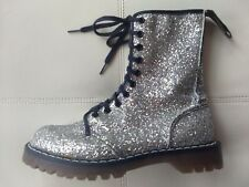 DOC DR. MARTENS SILVER SEQUIN GLITTER BOOTS RARE VINTAGE MADE IN ENGLAND 5UK