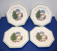 "Nikko Christmastime 4 Accent Salad Plates (8 1/8"") Santa in the Window Beautiful"