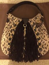 LUX Authentic GUCCI Babouska $3995.00 Python Brown Suede Fringe Handbag