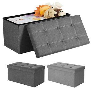 Sitzbank Sitzhocker Sitztruhe 80 L Aufbewahrungsbox Leinen faltbar grau SONGMICS