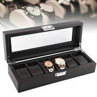 Multi-Slots Leather Watch Storage Case Jewelry Ring Display Box Holder Organizer