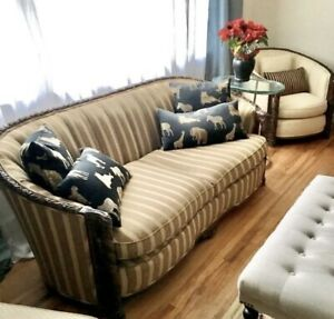 Mahogany sofa down filled, 2 matching lounge chairs with ottoman