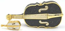 Judith Leiber Cello ViolinBag + PillBox Black Gold Crystals Evening Purse