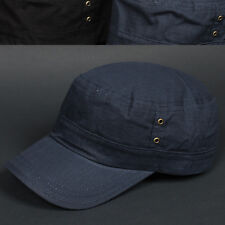Cadet Box NCN Navy BLUE Army Military Fashion CAP HAT Distressed Vintage Look