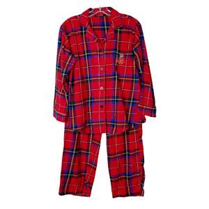 RALPH LAUREN 2pc Pajama Red Flannel Set Long Sleeve Pants PM Holiday