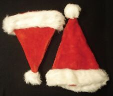 2 PLUSH SANTA CLAUS HATS/CAPS RED WITH WHITE FAUX FUR AND POM POM ON TIP