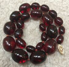 Antique Cherry Amber Resin Bead Necklace 14K Gold Clasp