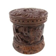 Trinket box teak wood carved lion antelope safari pill box stash container New