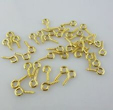 200pcs Plated Gold Dainty Screw Eye Pin Peg Bails Jewelry Findings 4x8mm