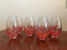 Clear hand blown glasses with red/orange spots - set of 8  beautifully weighted