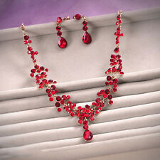 Wedding Jewelry Set Red Rhinestone Drop Necklace Earring Set Party Pageant Gold