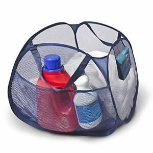 Deluxe Mesh Pop Up Square Laundry Basket Hamper w/ Side Pockets & Handles Durabl