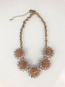 Pink Statement Occasion costume jewelry Floral Necklace Gold tone