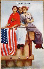 Patriotic Risque 1910 Postcard: Sailor & Two Women, 'Under Arms'