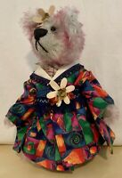 Cindy McGuire Artist Mohair Bear. Signed. Pink w/ Colorful Kimono ~ Vtg 2000