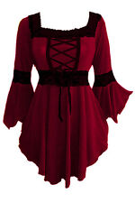RENAISSANCE Gothic BURGUNDY Red Corset FAIRY Sleeves Top Size 4X