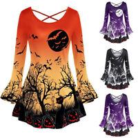 Women Plus Size Blouse O-Neck Halloween Flare Sleeve Punpkin Print T Shirt Tops