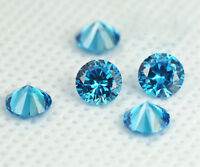 AAAAA Round Ocean blue Gemstone Zircon Diamonds Round Cut Loose Gemstones 1~10mm
