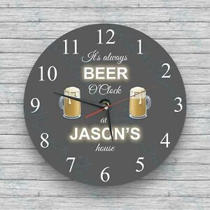 Personalised Glass Wall Clock Beer O'Clock  Birthday, Christmas Gift, Novelty