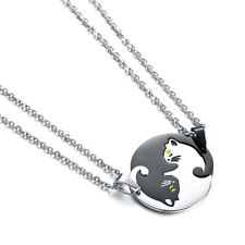 Stainless Steel Yin Yang Cat Puzzle Piece Matching Couple Pendant Necklace