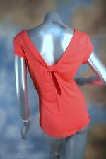 NEW GUESS JEANS bright coral orange keyhole back stretch tee t-shirt blouse L