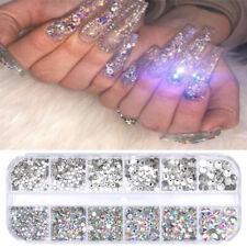 12-Grids Crystal Rhinestone 3D Glitter Jewelry Glass Nails Gems Nail Art Decors