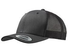 NEW DARK GREY FLEXFIT MESH SNAPBACK CAP PLAIN BASEBALL TRUCKER GOLF ERA PEAK HAT