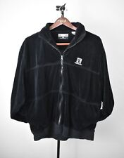 KARL KANI Men's Vintage 90's Velour Long Sleeve Zip Up Black Jacket -Size L