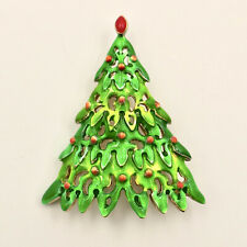 "Danecraft Christmas Tree Pin Green Enamel 2"" USA Vintage"