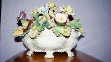 """Vintage Capodimonte Centerpiece  Flower Basket Bouquet HUGE 15"""" Long x 11 1/2"""""""