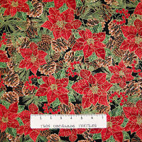Christmas Fabric - Poinsettia & Pine Cone Packed Black - Timeless Treasures YARD