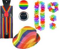 Gay Pride Accessories LGBT Rainbow Parade Fancy Dress Party Lei Hula Braces LOT
