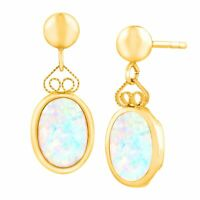 Created Opal Drop Earrings in 14K Gold