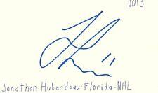 Jonathan Huberdeau Florida Nhl Hockey Autographed Signed Index Card