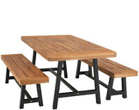 Outdoor Table Bench Set of 3 Wood  Patio Dining Tables Garden Furniture Teak