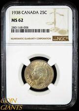 1938 Canada 25c NGC MS62 Uncirculated Rare Toned BU Quarter Dollar Coin