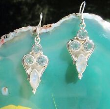 Earring Rainbow Moonstone Stone of the June and Blue Topaz Sterling Silver 925