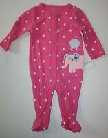 New Carter/'s Girls Fleece Sleep n Play PJs 2 Way Zip Mouse Face Pink NB 3m 6m