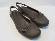 Crocs Women's Croslite Chocolate Brown Flats Size 6; Excellent Used Condition