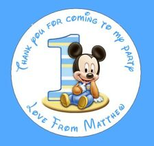 48 Personalised Round Mickey Mouse 1st Birthday Party Stickers Sweet Cones Bags