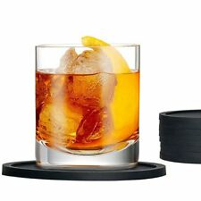 Set of 10 Black PU Leather Round Drink Coasters With Coaster Holder Pad Tablewar