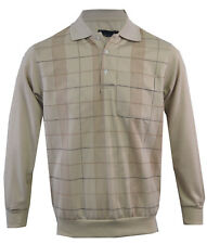 Mens Long Sleeve Check Polo Button Down Collared Sweatshirt Top M -XXL