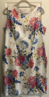 Hobbs Fiona White Blue Pink Floral Pattern Cotton Shift Dress UK 16 RRP 149