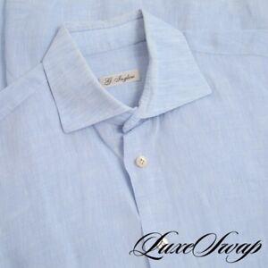 #1 MENSWEAR G. Inglese Made in Italy 100% Linen Sky Blue Slubby Spread Shirt 16