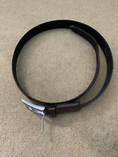 M&S Brown Leather Belt With Silver Buckle