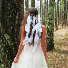 Indian White Feather Bead Headband Festival Boho Hairband Headdress