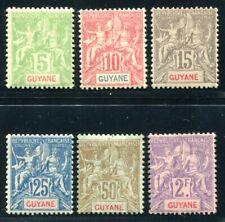 GUYANE 1890 Yvert 43-48 * TADELLOS 400€(S5380